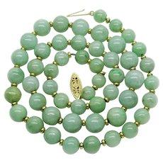 "Estate Jade & 14k Yellow Gold Bead Necklace 21.5"""