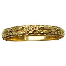 Vintage Art Deco Large 14k Yellow Gold Wedding Ring Band Size 13