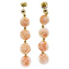 Vintage 14k Gold Handcarved Rose Angel Skin Coral Bead Earrings