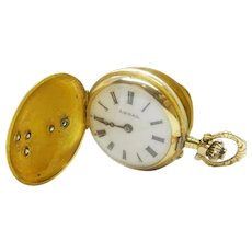 Remontoir Cylindre 10 Rubis 14k Rose Gold Diamond Ladies Pocket Watch