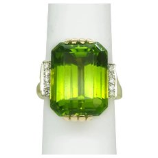 Large 16ct Natural Peridot & Earth Mined Diamond Ring 14kt Gold Size 6