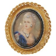 Vintage Italian 18K Yellow Gold Jeweled Portrait Pin & Pendant