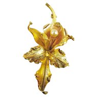 18k Tri-Color Gold Pearl Orchid Pin Brooch Mid-Century Vintage