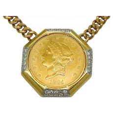 Estate $20 Gold Eagle Henry Dunay 18k Gold & Platinum Diamond Pendant