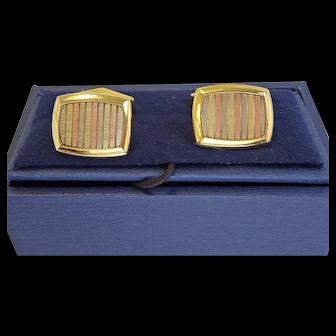 Vintage 18k Tri-Color Gold Cufflinks, European Made
