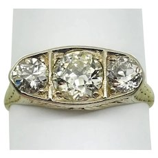 Victorian 18KYG 3 Diamond Band 1.46ctTW