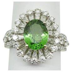 Natural 2.28ct Tsavorite Garnet & Diamond Frame Ring 14k White Gold Size 7