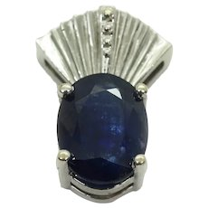 2.04ct tw Natural Sapphire Diamond-Cut Design Pendant 14k White Gold