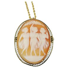 Vintage Three Graces Cameo Pin/Pendant 12k Gold Filled