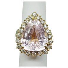 29.98ct tw Natural Pear Kunzite & Earth Mined Diamond Ring 14k/18k Gold Size 9