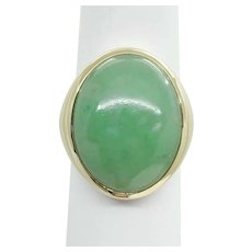 Genuine Large 30.6ct Oval Natural Jade Dome Ring 14k Size 7.5 Mason-Kay Lab