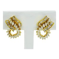 3.33ct tw Diamond Ribbon Style Earrings 14k Gold Gemworld