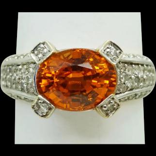 3.88ct tw Natural Mandarin Garnet Earth Mined Diamond Ring 14k Two Tone Size 8
