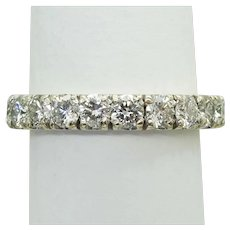 3ct tw Earth Mined Diamond Eternity Band Ring 14k White Gold Size 7.5