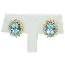 4.72ct tw Natural Aquamarine & Earth Mined Diamond Halo Clip Earrings 14k Gold