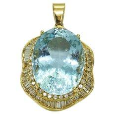 48.53ct tw Natural Aquamarine & Earth Mined Diamond Pendant 14k Gold