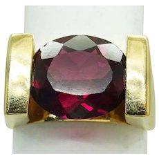 5ct Natural Rhodolite Garnet Channel Ring 14k Gold Size 7