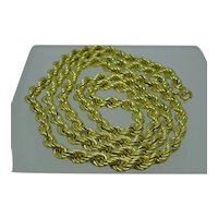 """Gorgeous Italian 5mm 14k yellow gold 28"""" rope chain, 28.5g, Mint Condition"""
