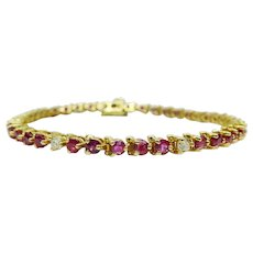 6.45ct tw Natural Ruby & Earth Mined Diamond Line Tennis Bracelet 14k Gold