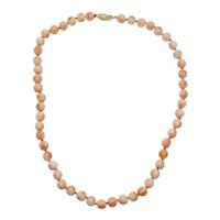 """Estate 7.5mm Coral Bead Necklace 14k Gold Filigree Clasp 17"""" 31g"""