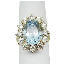 7+ ct tw Natural Aquamarine & Earth Mined Diamond Ring Size 6.5 14k Gold