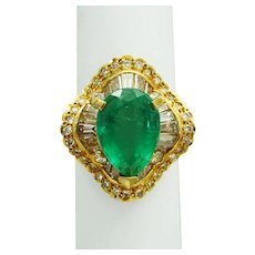 7ct tw Natural Pear Emerald & Earth Mined Diamond Ribbon Ring 18k Gold Size 7.5