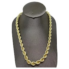 """Gorgeous 14k Yellow Gold 8mm Rope Braid Chain Necklace , 29.5"""".Mint ,56.1 grams"""