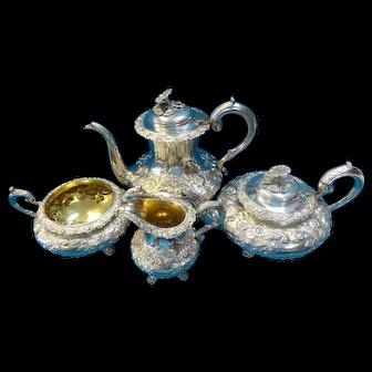 4 Piece Antique Repousse Sterling Tea Set 2361g John James Keith London, 1838