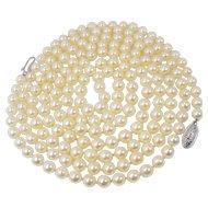 "Vintage Salt Water Pearl Necklace, 56"" Rope Length, Creamy Pink Luster"