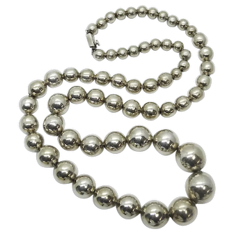 """Old Pawn Sterling Silver Taxco Bead Necklace 28"""""""