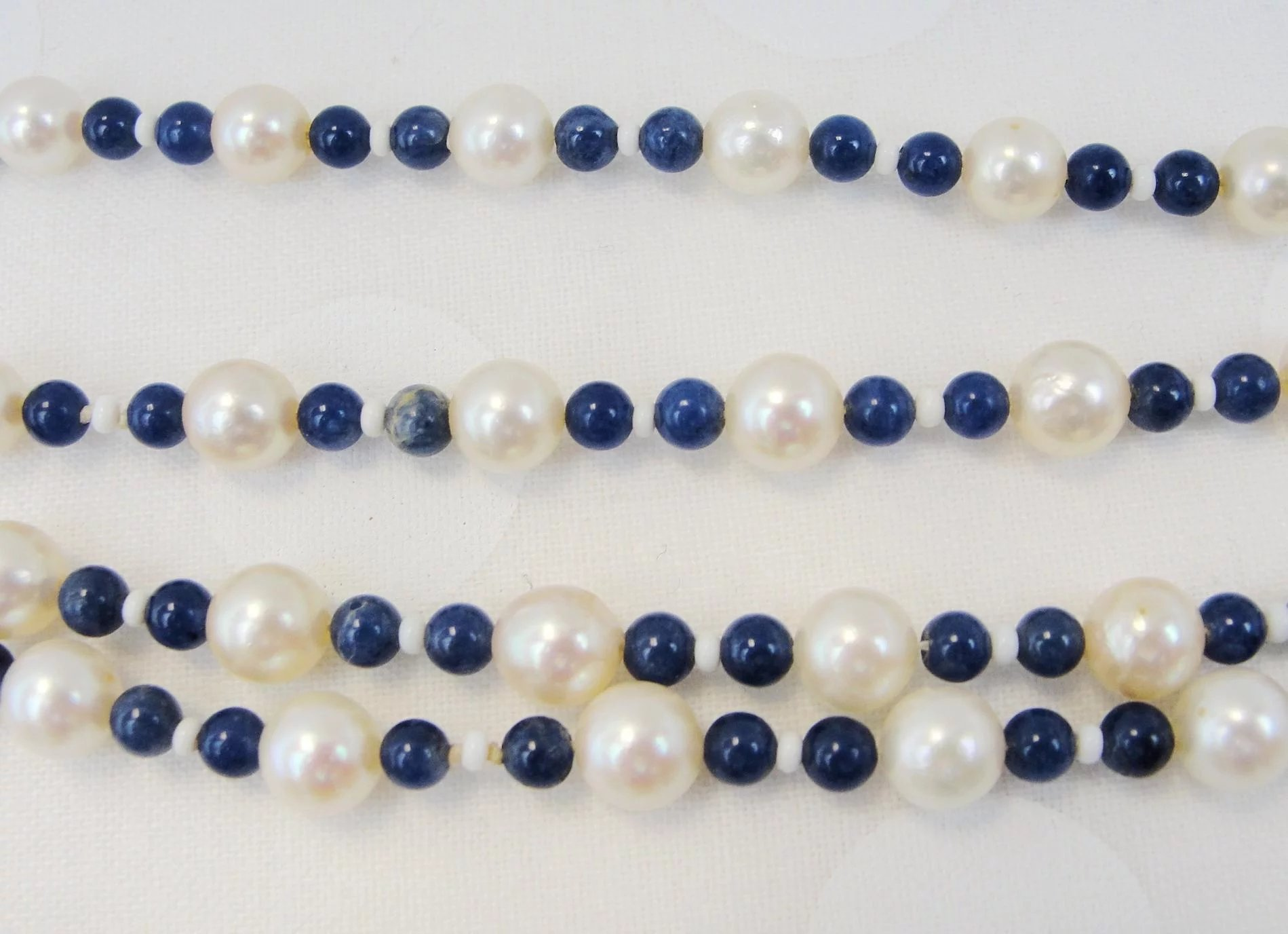 Vintage Cultured Salt Water Pearl Lapis And Mother Of