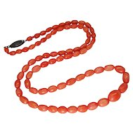 Vintage Authentic Natural Graduated Coral Bead Necklace, Sterling Filigree Clasp