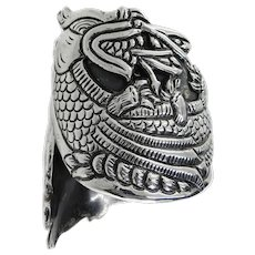 Taxco Stunning SE Pre-1948 Sterling Dragon Repousse Clamper Bracelet