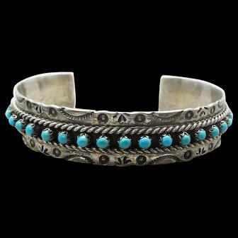 Jane Yikaazba Popovich Navajo Sterling Silver Turquoise Cuff Bracelet