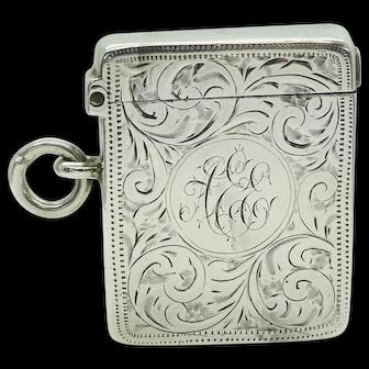 "Victorian Sterling Silver Match Safe Monogram ""AEE"""