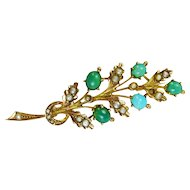 9k Yellow Gold Victorian Turquoise and Seed Pearl Floral Pin Brooch
