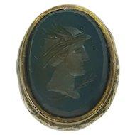 WJP William John Pellow Antique Victorian 9k Gold Wax Stamp Mercury Hermes