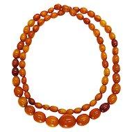 "Vintage 30"" Baltic Amber Necklace, Honey Butterscotch Egg Yolk, 33.8g"