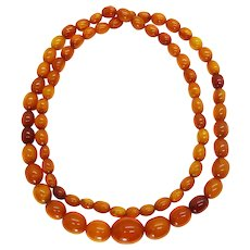 "Vintage 30"" Baltic Amber Necklace, Honey Butterscotch Egg Yolk, 33.8g"