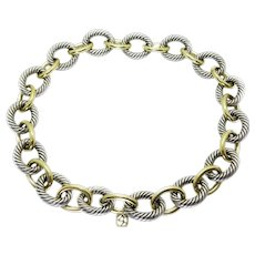 David Yurman Sterling & 18k Solid Gold Large Cable Link Necklace 17″