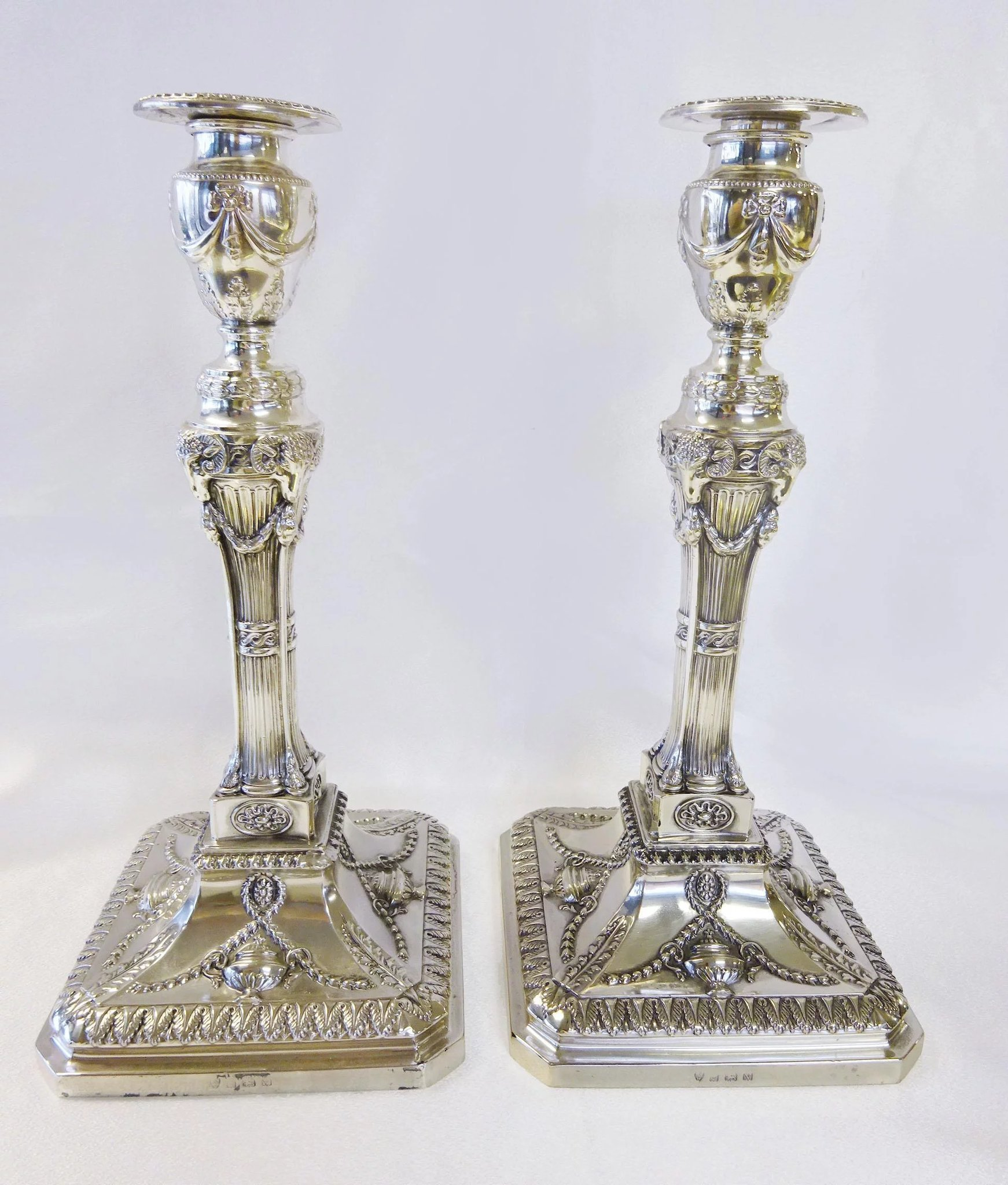 Pair of sterling silver candlesticks, hallmarked London
