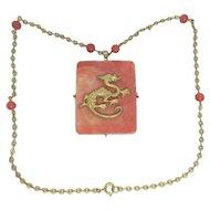 Vintage Hattie Carnegie Gold Tone Dragon Necklace Faux Coral Pendant Glass Beads