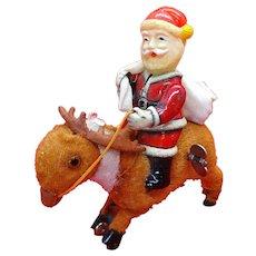 Vintage 1940s – 1950s Wind Up Mechanical Santa On Reindeer, Frankonia Works