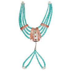 Vintage Native American Turquoise Heishi Ceremonial Necklace w/Spiny Oyster