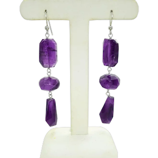 Amethyst Faceted Crystal Chunk Dangle Sterling Silver Earrings