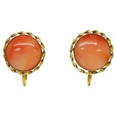 Angel Skin Coral Round Cabochon Screwback Earrings 14k Gold