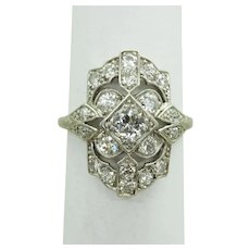 Art Deco 0.89ct tw Old Euro Earth Mined Diamond Ring Platinum Size 5.25