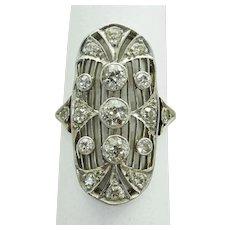 Art Deco 1.13ct tw Old Euro Earth Mined Diamond Filigree Ring Platinum 14k Sz 5