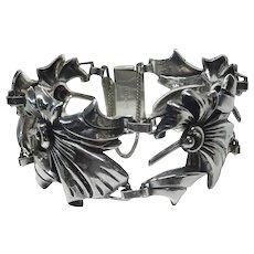Vintage Art Deco Retro Sterling Silver Bracelet Safety Clasp Floral Design