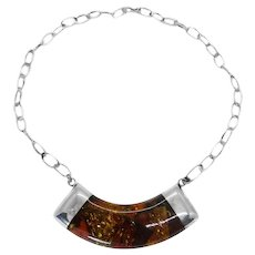 Modernistic Baltic Amber Mosaic Station Statement Necklace, Sterling, Signed